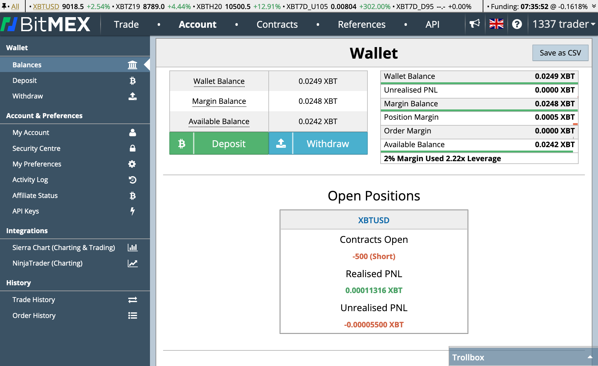 Screenshot of the Testnet interface with a $500 contract open